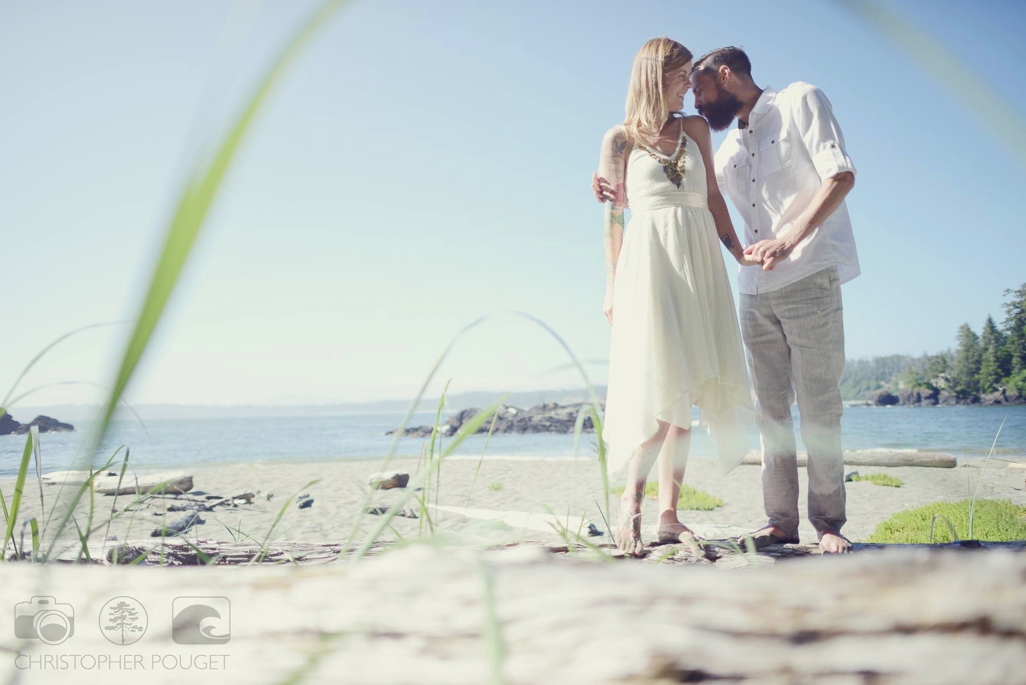Chris Pouget Photography_Barefoot Beach Bride and Groom